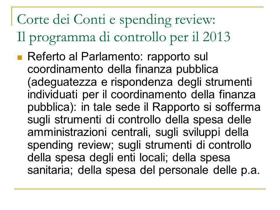 Corte dei Conti e spending review: Il programma di controllo per il 2013
