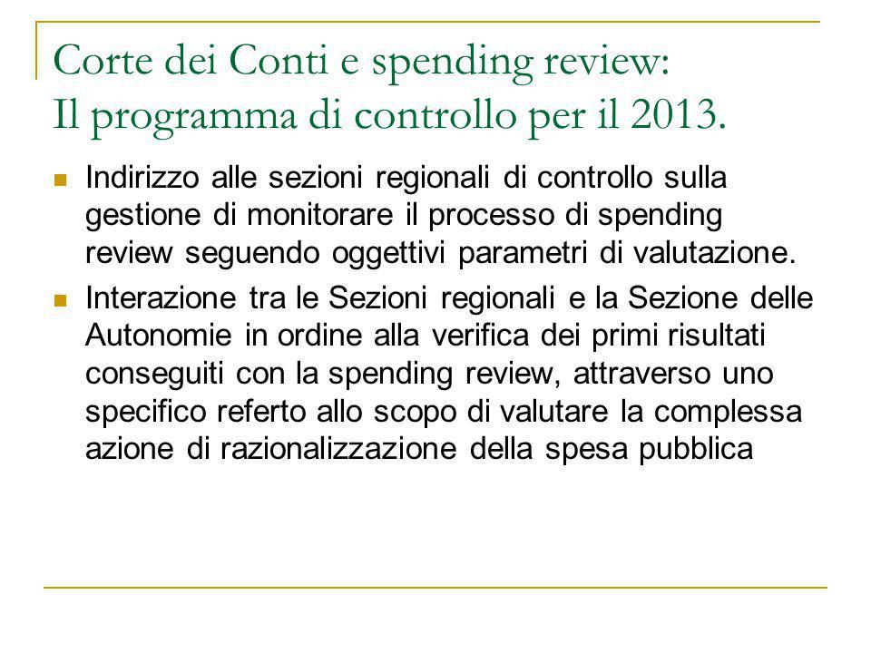Corte dei Conti e spending review: Il programma di controllo per il 2013.