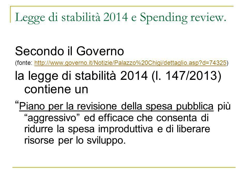 Legge di stabilità 2014 e Spending review.