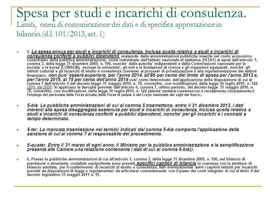 Spesa per studi e incarichi di consulenza