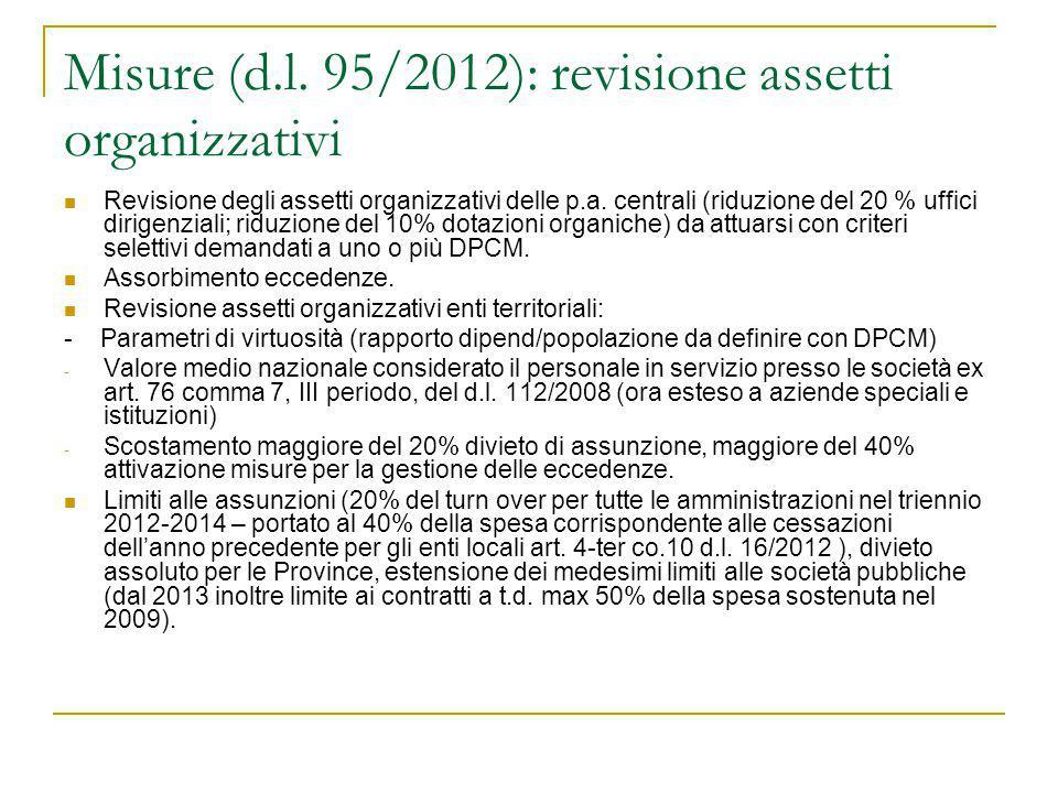 Misure (d.l. 95/2012): revisione assetti organizzativi