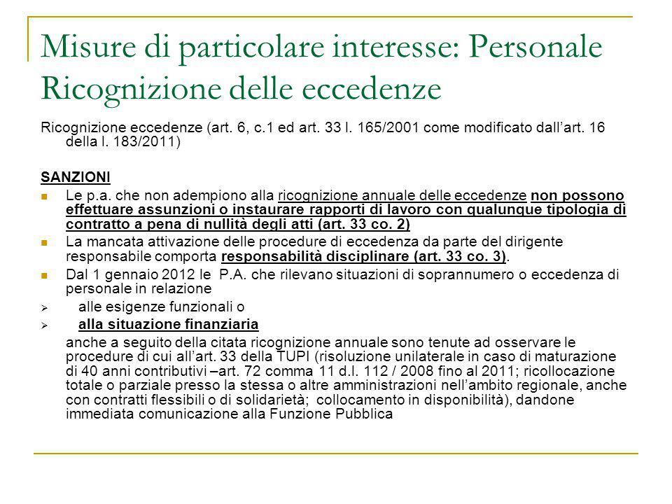 Misure di particolare interesse: Personale Ricognizione delle eccedenze