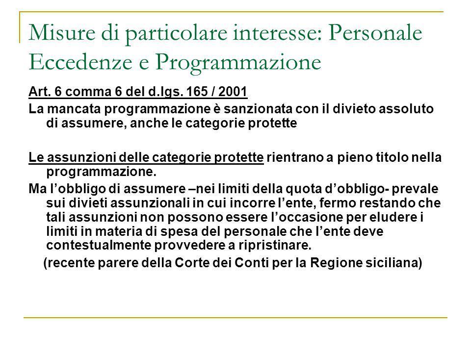 Misure di particolare interesse: Personale Eccedenze e Programmazione