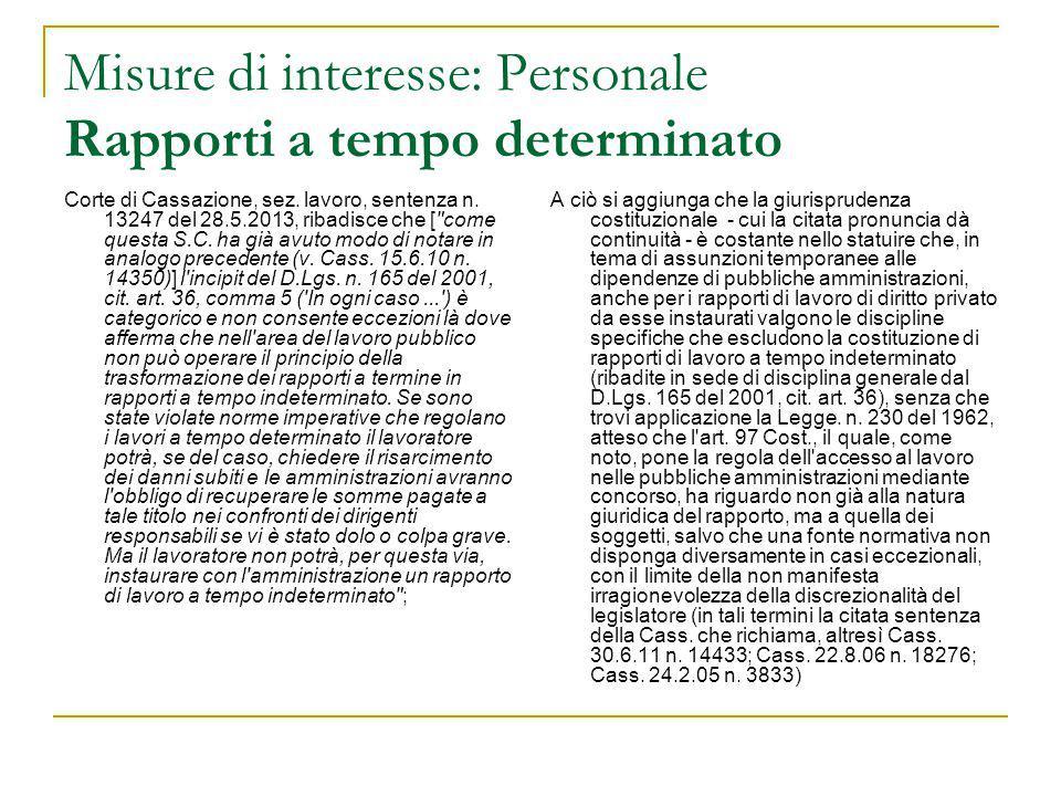 Misure di interesse: Personale Rapporti a tempo determinato