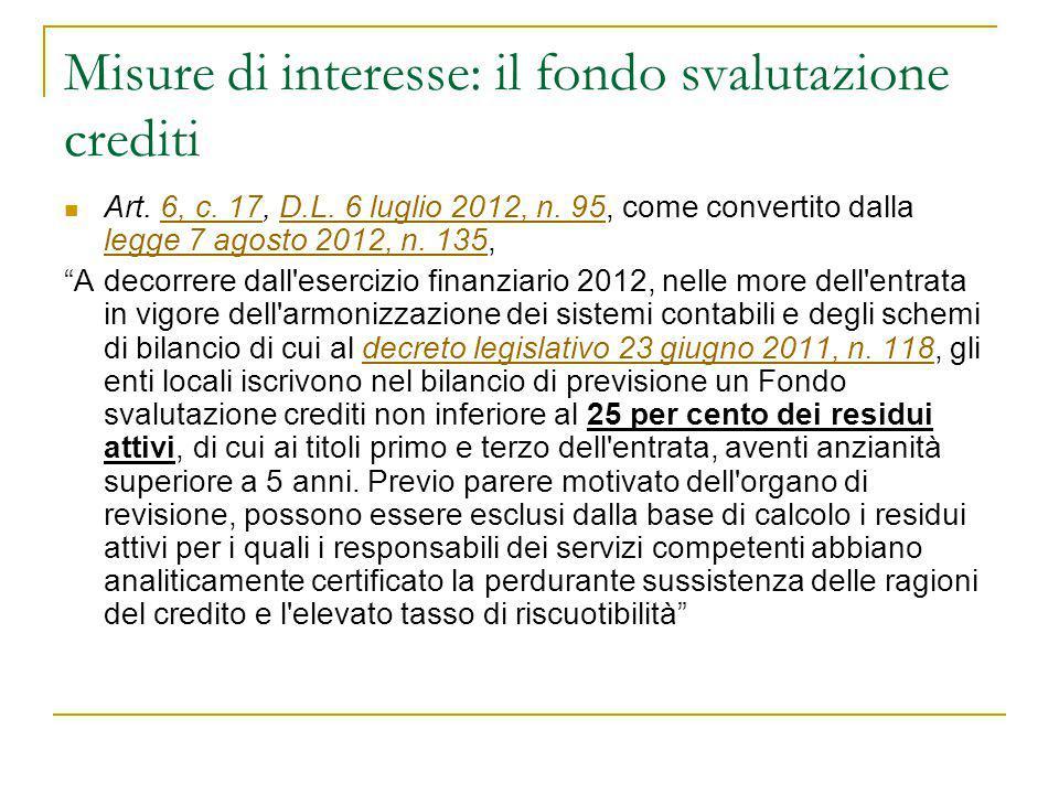 Misure di interesse: il fondo svalutazione crediti