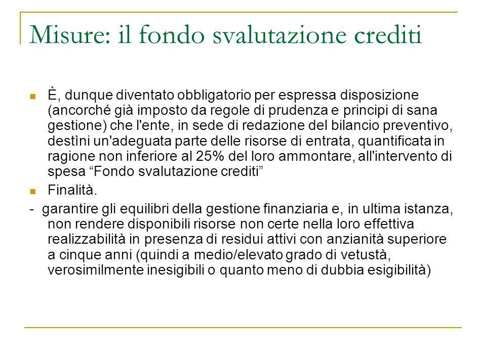 Misure: il fondo svalutazione crediti