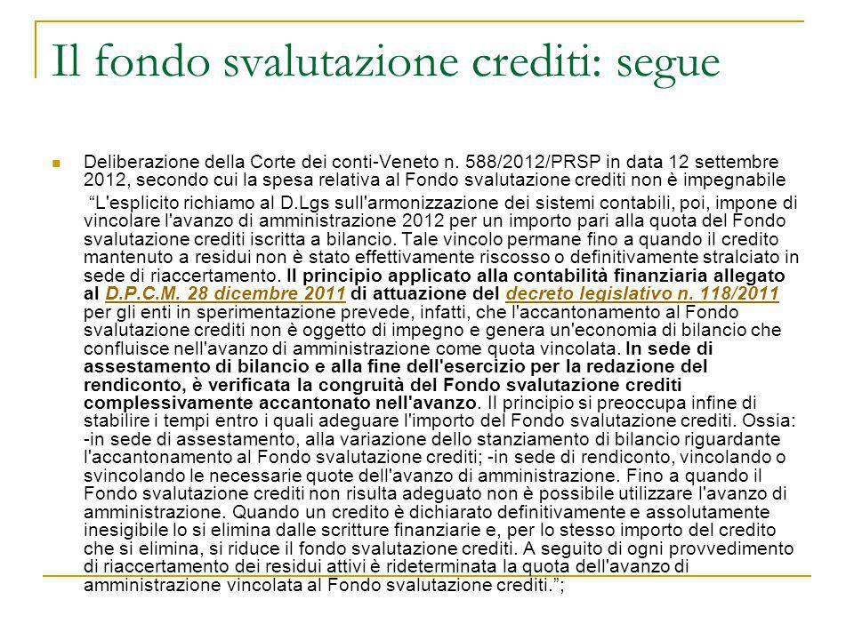 Il fondo svalutazione crediti: segue