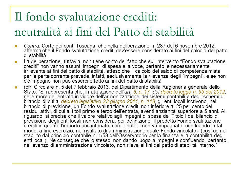 Il fondo svalutazione crediti: neutralità ai fini del Patto di stabilità