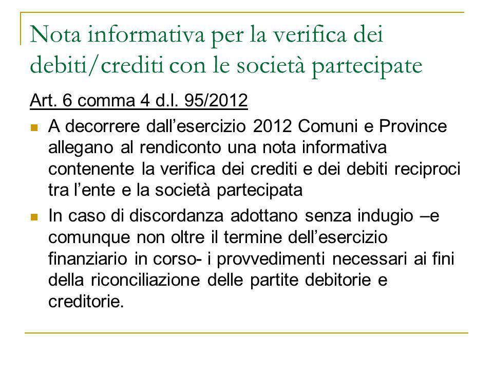 Nota informativa per la verifica dei debiti/crediti con le società partecipate