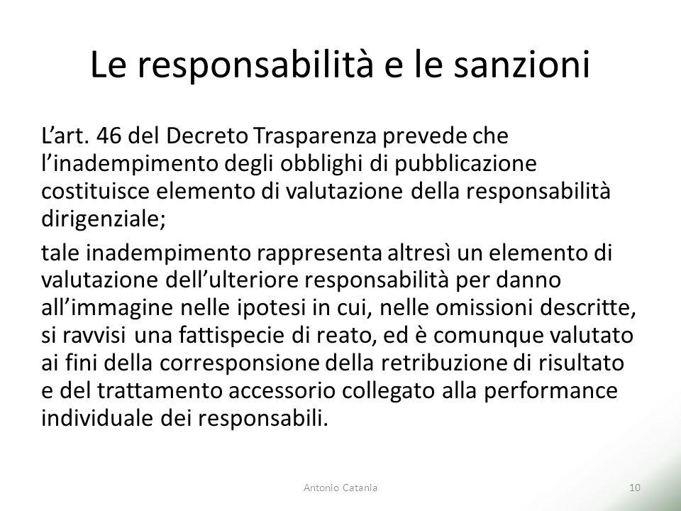 Le responsabilità e le sanzioni