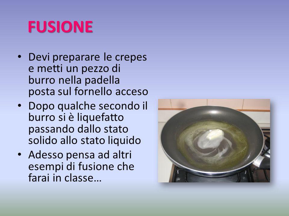 FUSIONE Devi preparare le crepes e metti un pezzo di burro nella padella posta sul fornello acceso.
