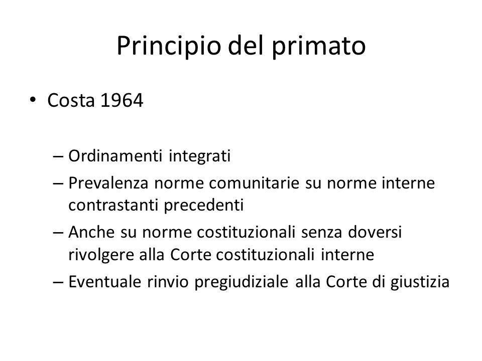Principio del primato Costa 1964 Ordinamenti integrati