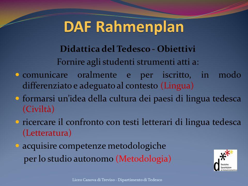 DAF Rahmenplan Didattica del Tedesco - Obiettivi