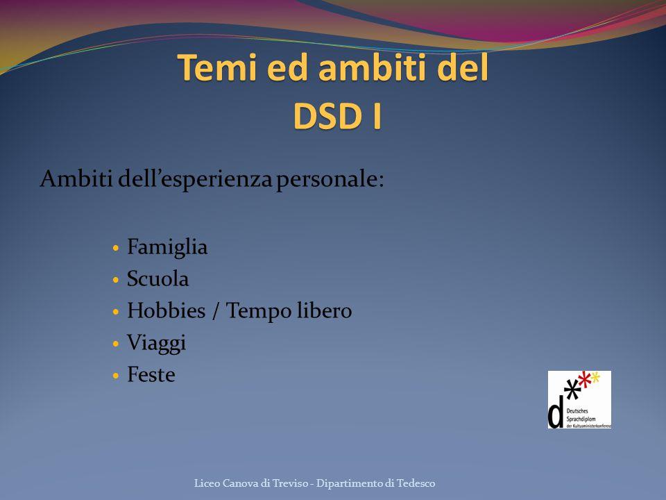 Temi ed ambiti del DSD I Ambiti dell'esperienza personale: Famiglia
