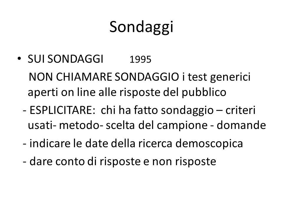 Sondaggi SUI SONDAGGI 1995. NON CHIAMARE SONDAGGIO i test generici aperti on line alle risposte del pubblico.