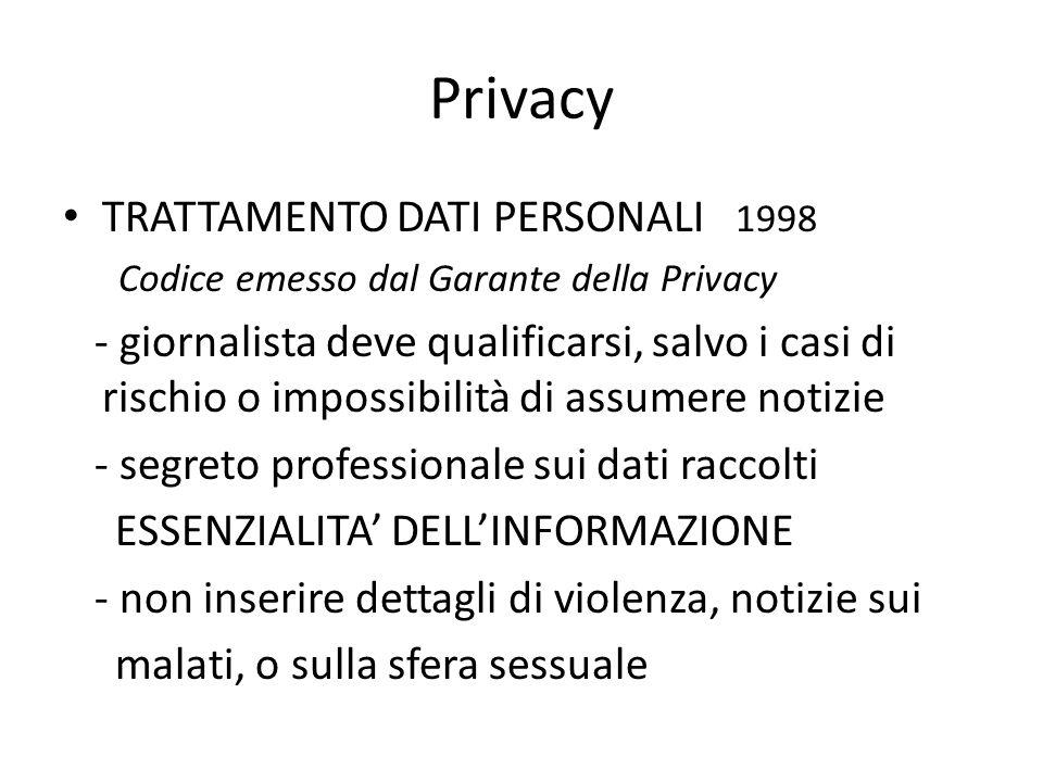 Privacy TRATTAMENTO DATI PERSONALI 1998