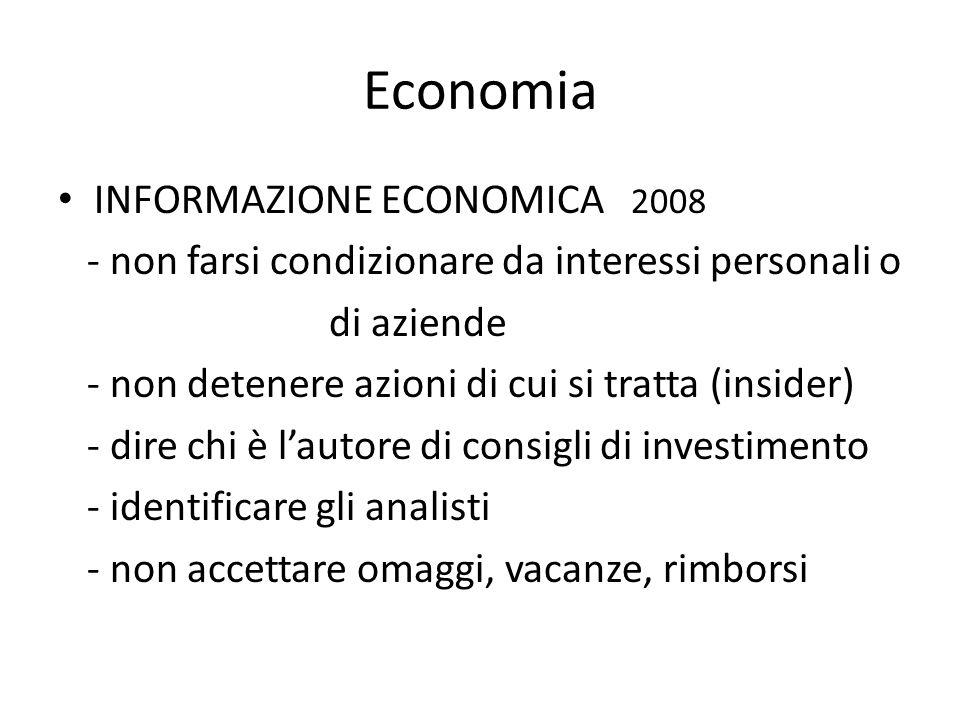 Economia INFORMAZIONE ECONOMICA 2008