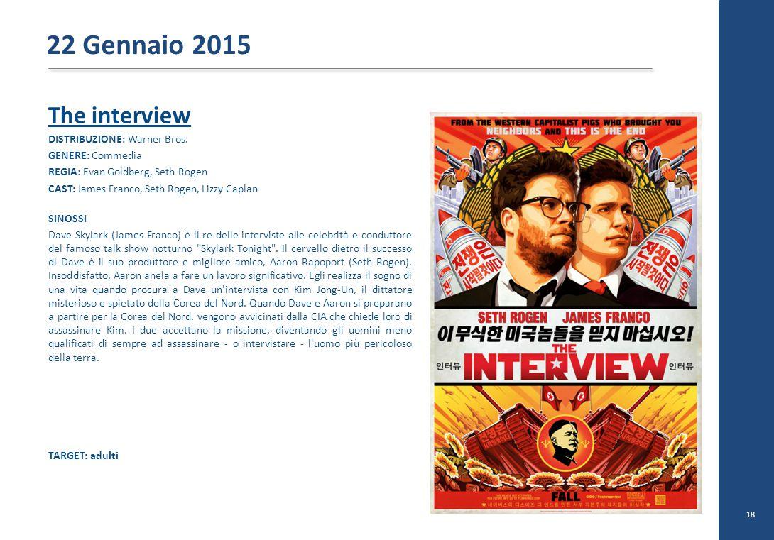 22 Gennaio 2015 The interview DISTRIBUZIONE: Warner Bros.