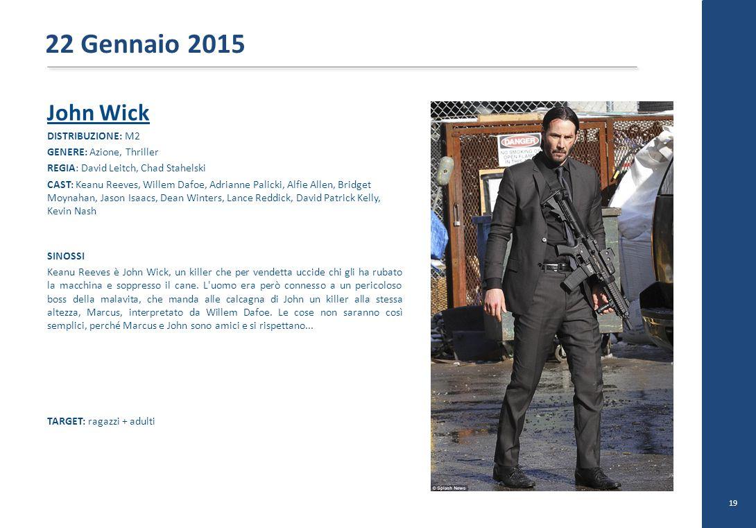 22 Gennaio 2015 John Wick DISTRIBUZIONE: M2 GENERE: Azione, Thriller
