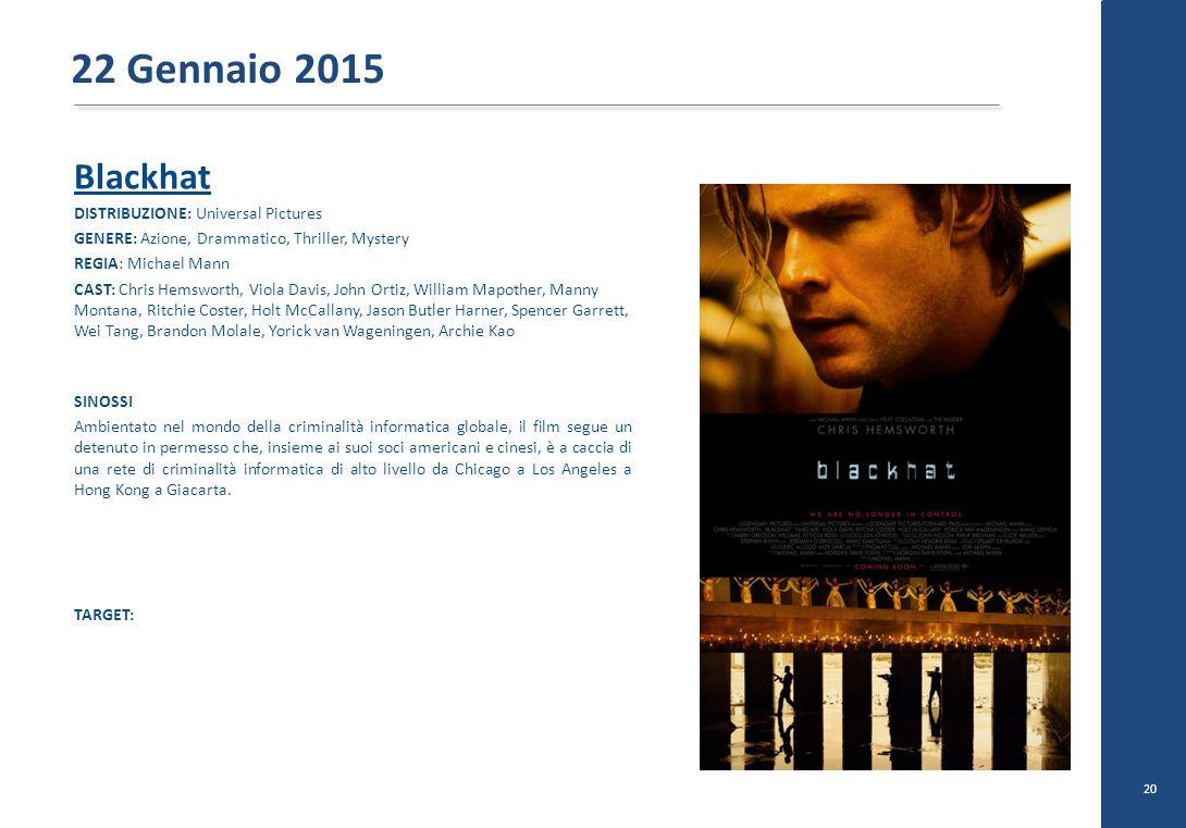 22 Gennaio 2015 Blackhat DISTRIBUZIONE: Universal Pictures