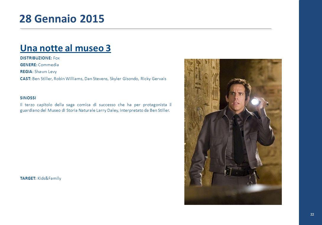 28 Gennaio 2015 Una notte al museo 3 DISTRIBUZIONE: Fox