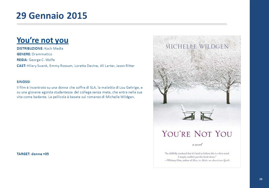 29 Gennaio 2015 You're not you DISTRIBUZIONE: Koch Media
