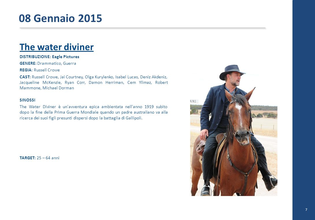 08 Gennaio 2015 The water diviner DISTRIBUZIONE: Eagle Pictures
