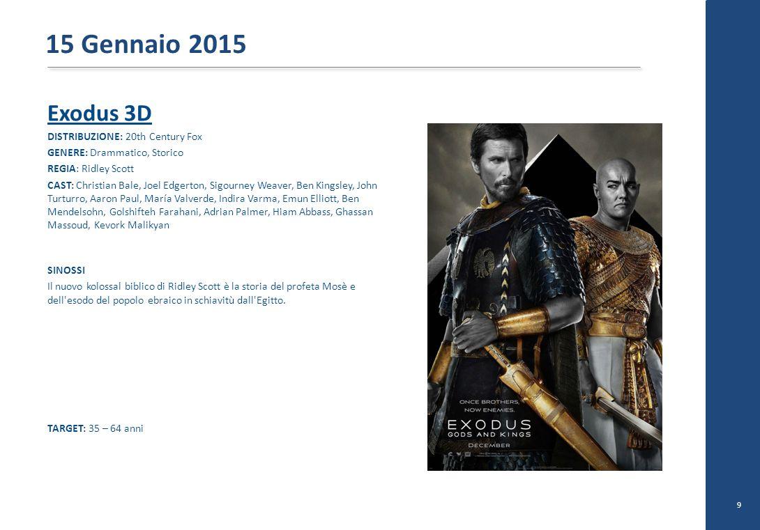 15 Gennaio 2015 Exodus 3D DISTRIBUZIONE: 20th Century Fox