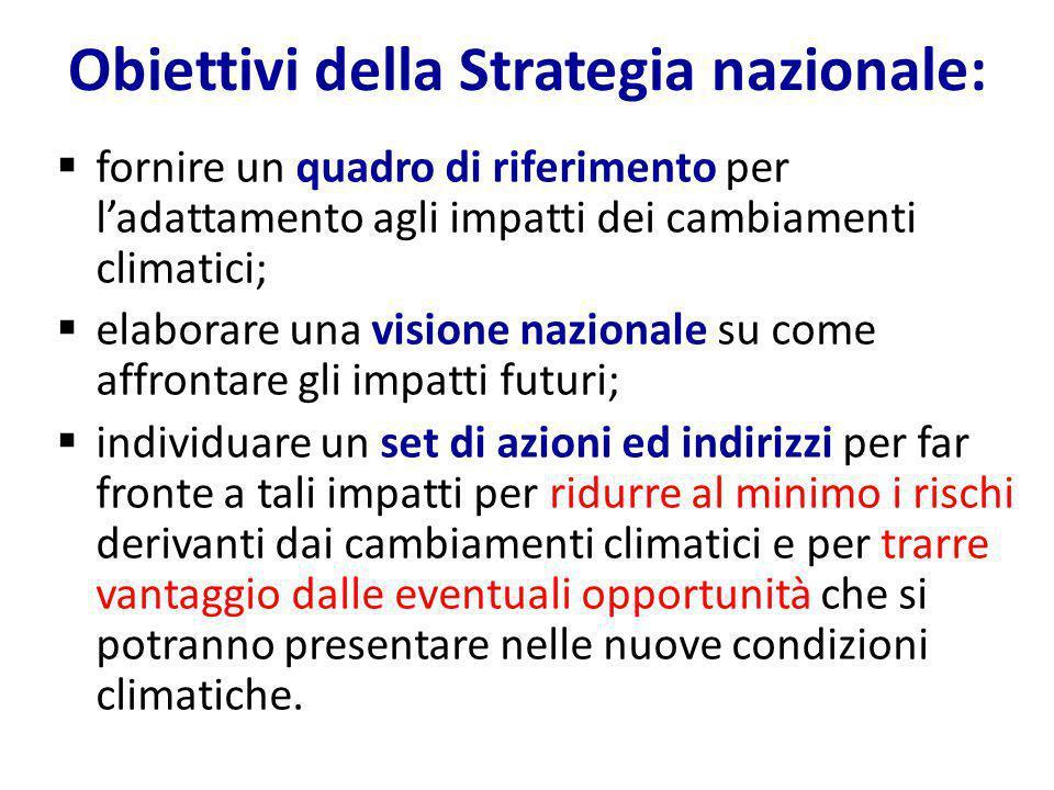 Obiettivi della Strategia nazionale: