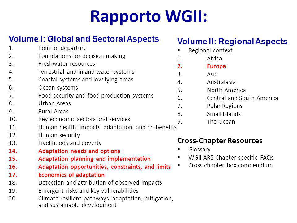 Rapporto WGII: Volume I: Global and Sectoral Aspects