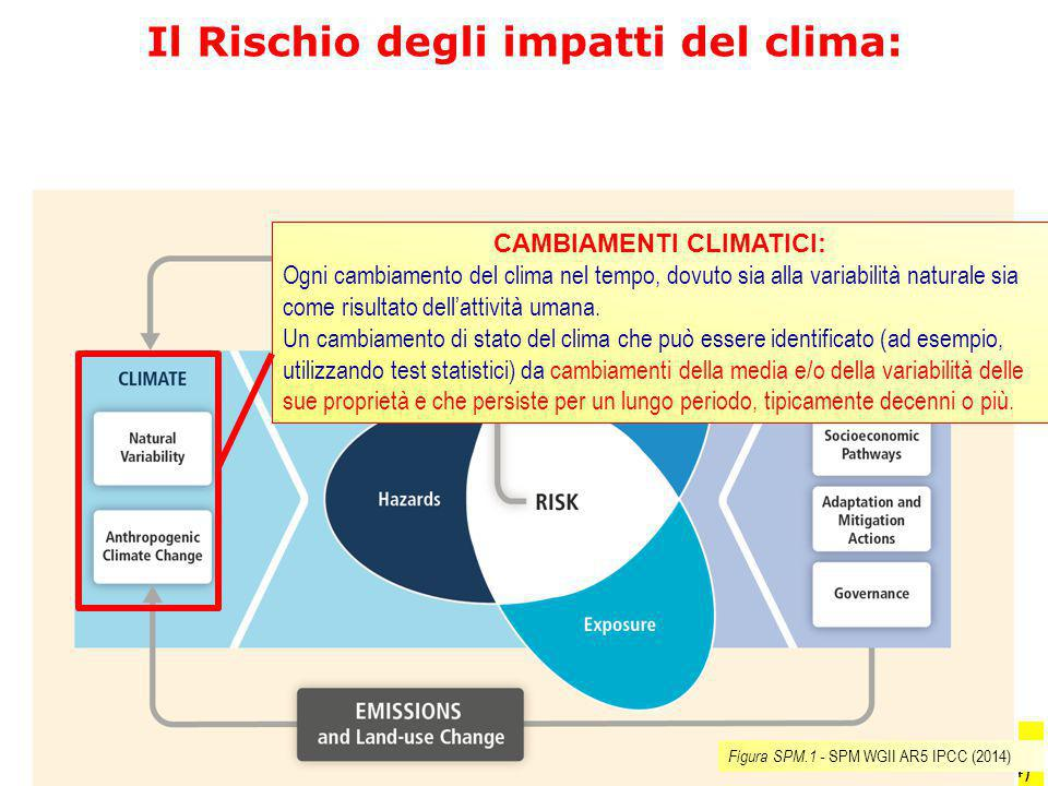 Il Rischio degli impatti del clima: CAMBIAMENTI CLIMATICI:
