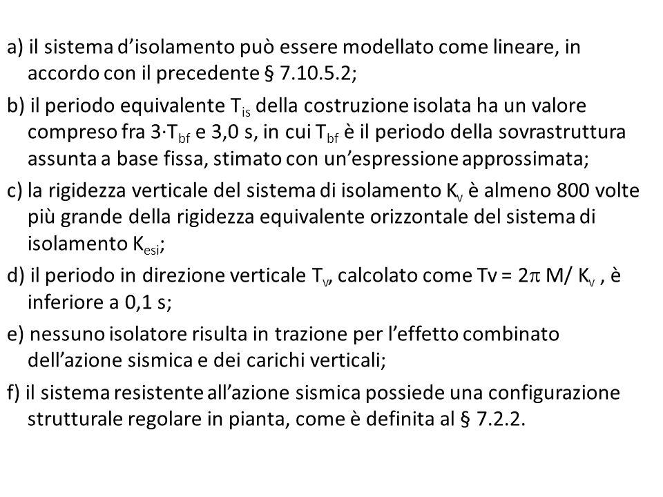 a) il sistema d'isolamento può essere modellato come lineare, in accordo con il precedente § 7.10.5.2;