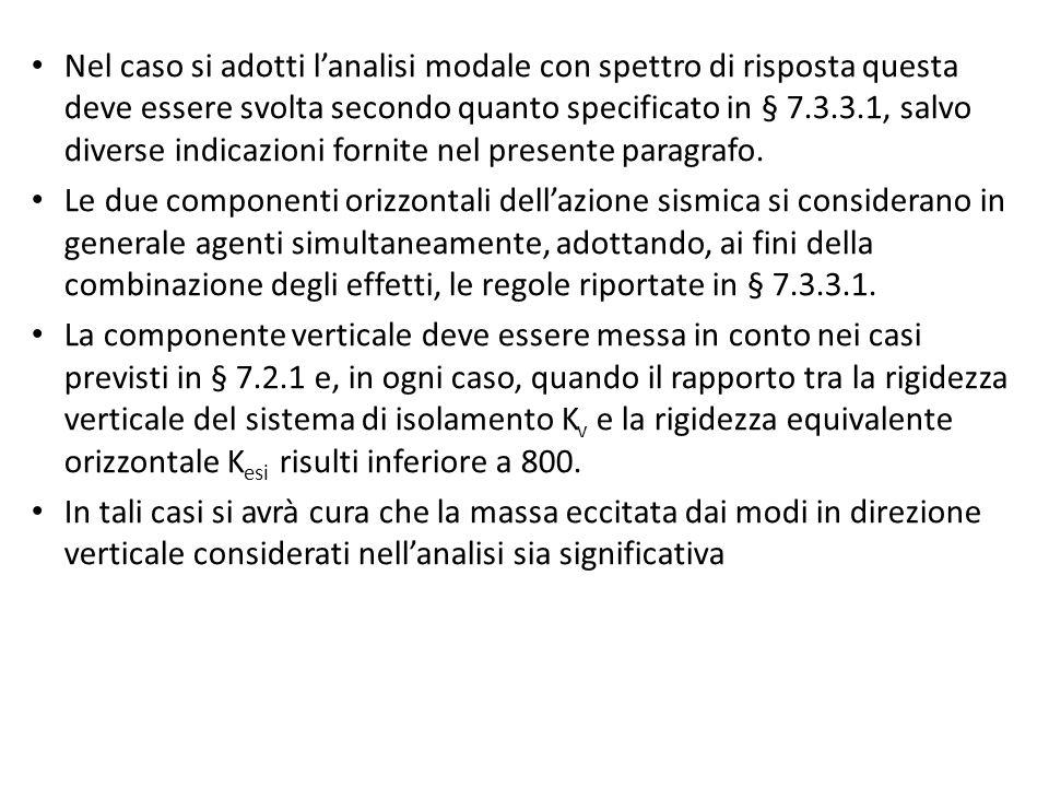 Nel caso si adotti l'analisi modale con spettro di risposta questa deve essere svolta secondo quanto specificato in § 7.3.3.1, salvo diverse indicazioni fornite nel presente paragrafo.