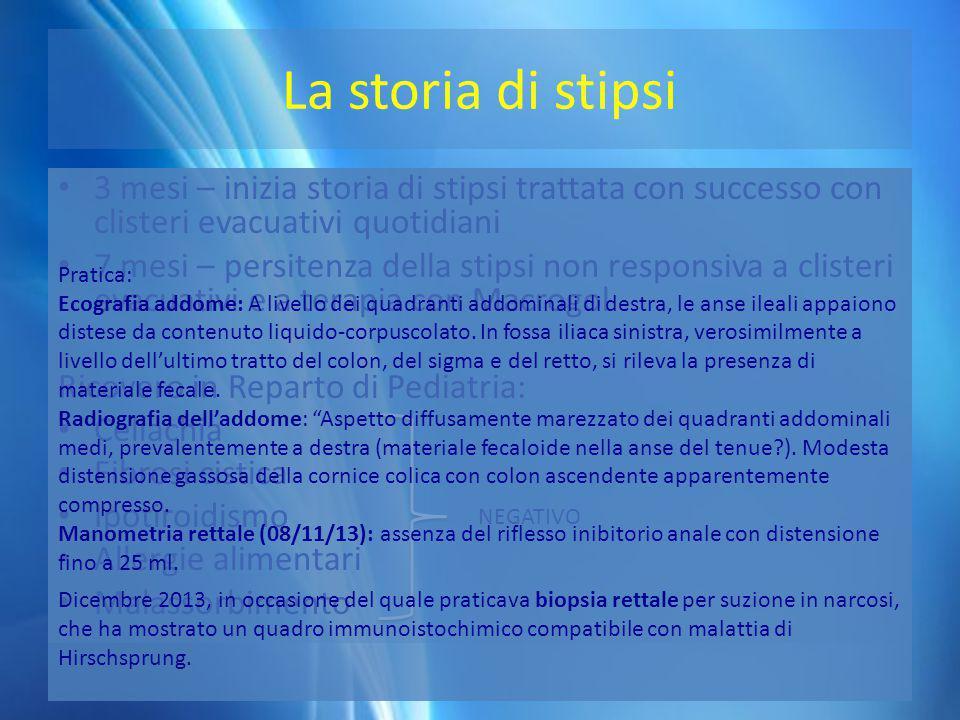 La storia di stipsi 3 mesi – inizia storia di stipsi trattata con successo con clisteri evacuativi quotidiani.