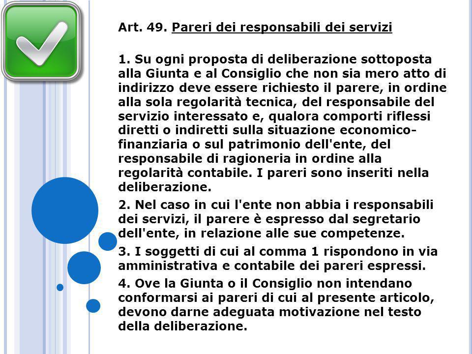 Art. 49. Pareri dei responsabili dei servizi