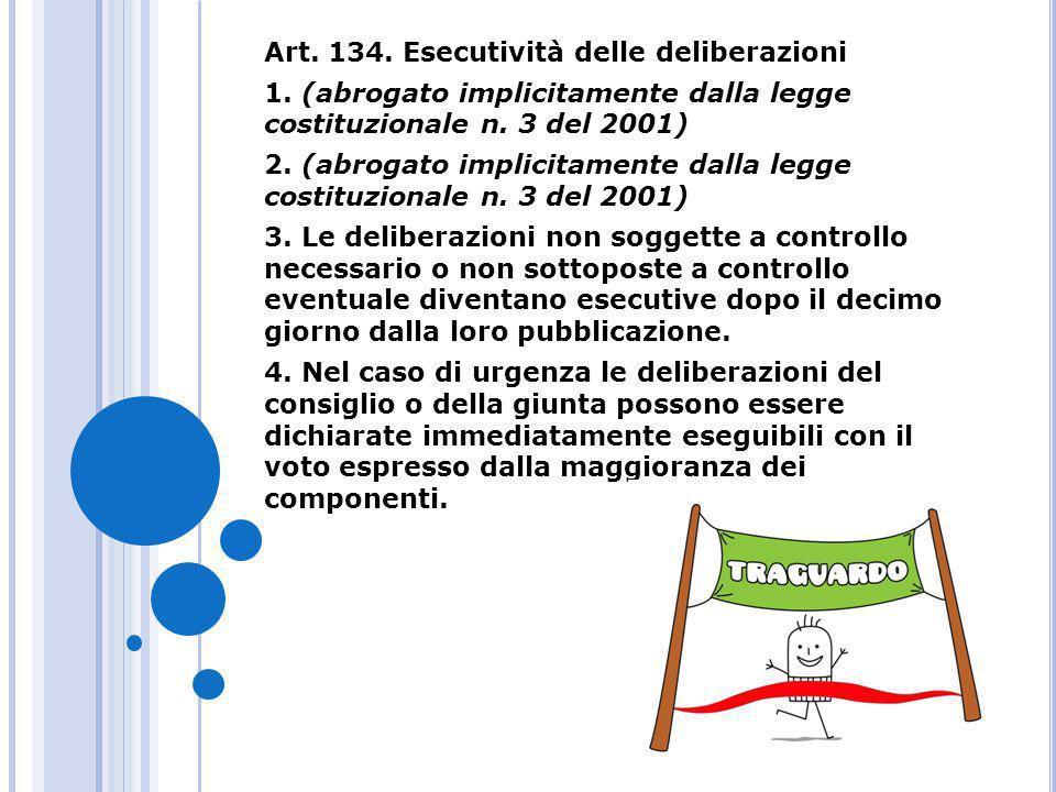 Art. 134. Esecutività delle deliberazioni
