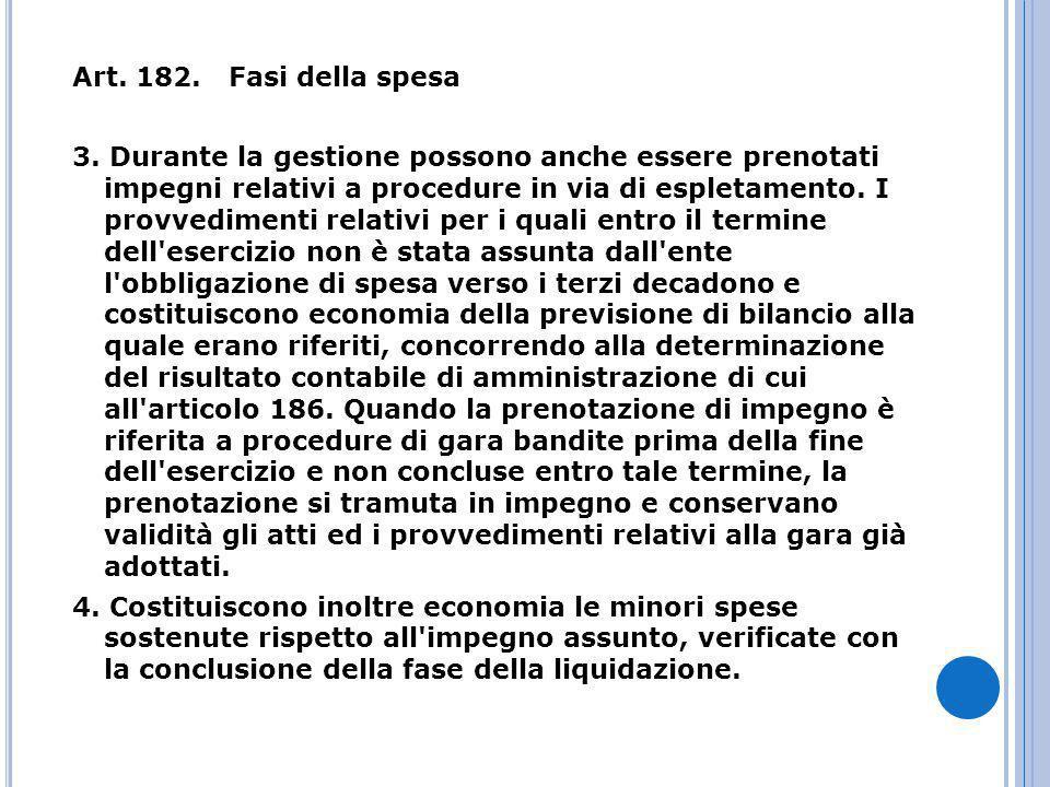 Art. 182. Fasi della spesa 3.