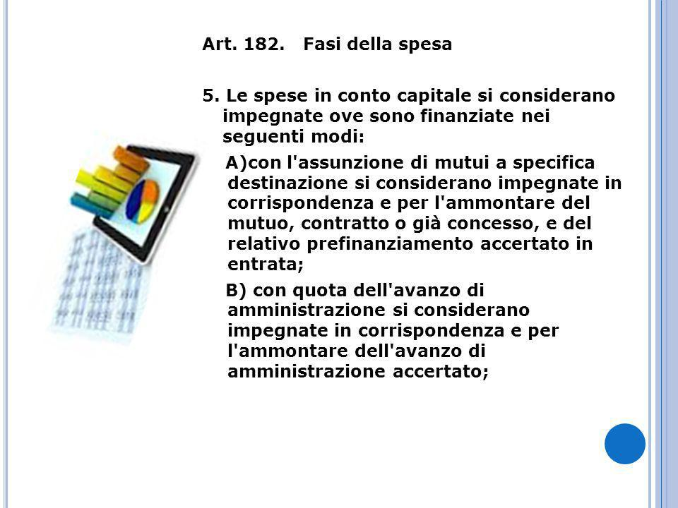 Art. 182. Fasi della spesa 5.