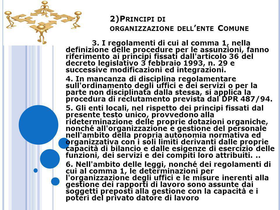 2)Principi di organizzazione dell'ente Comune