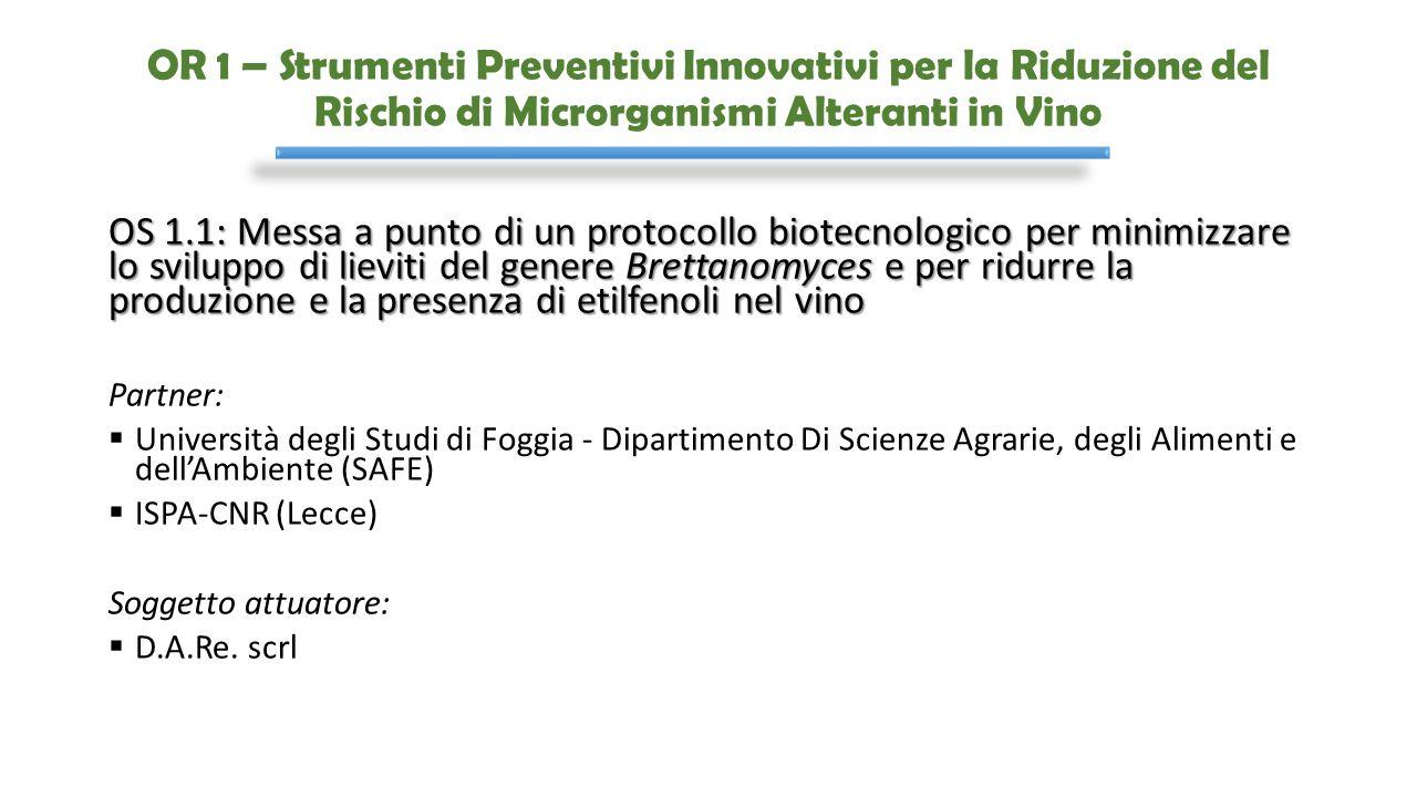 OR 1 – Strumenti Preventivi Innovativi per la Riduzione del Rischio di Microrganismi Alteranti in Vino