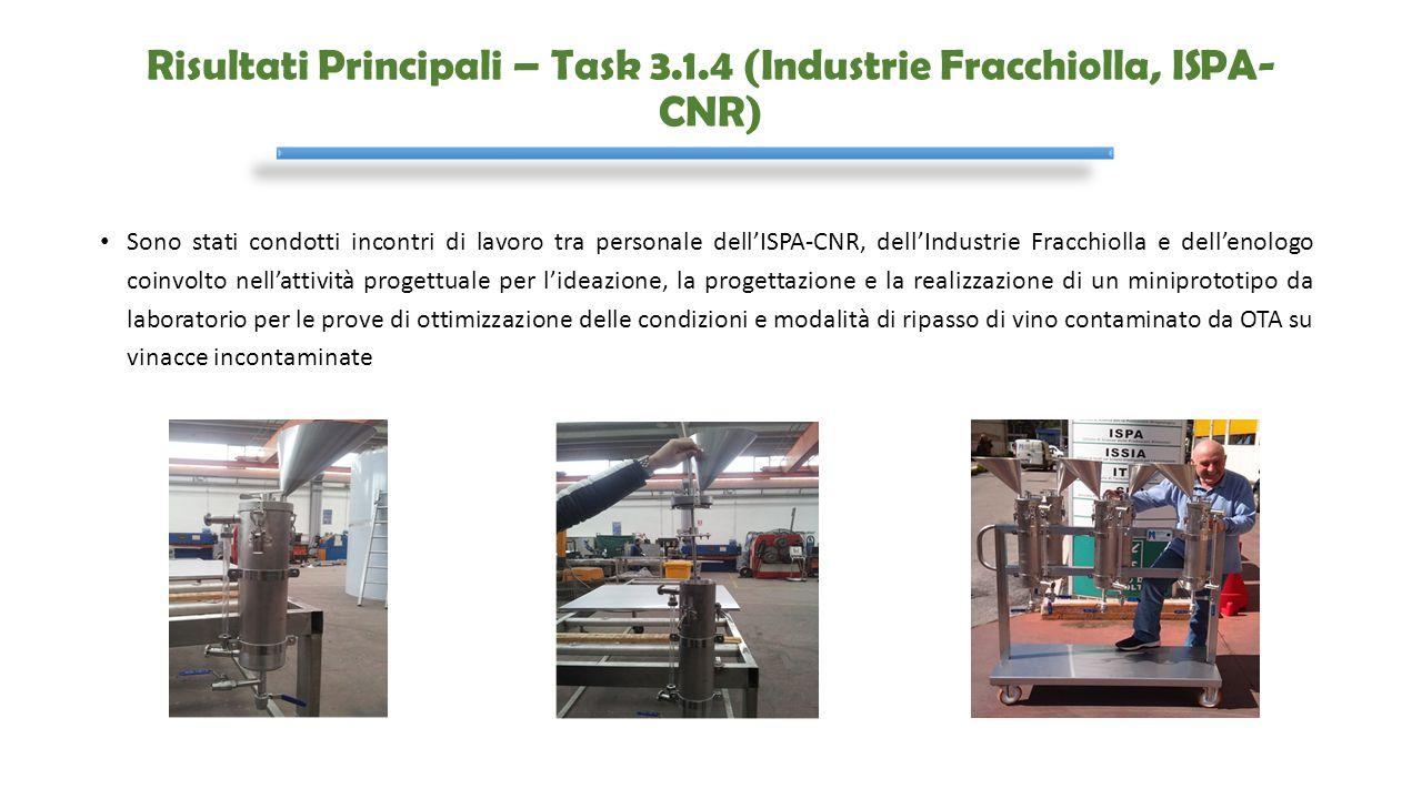 Risultati Principali – Task 3.1.4 (Industrie Fracchiolla, ISPA-CNR)