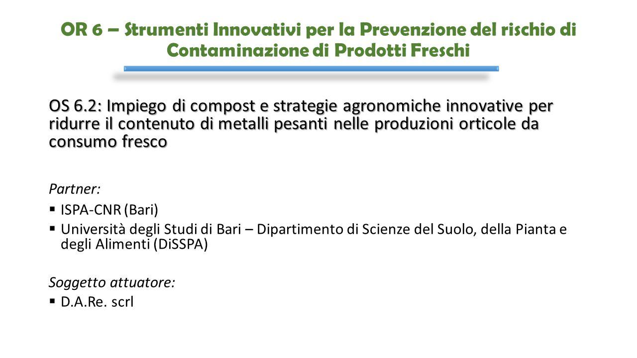 OR 6 – Strumenti Innovativi per la Prevenzione del rischio di Contaminazione di Prodotti Freschi