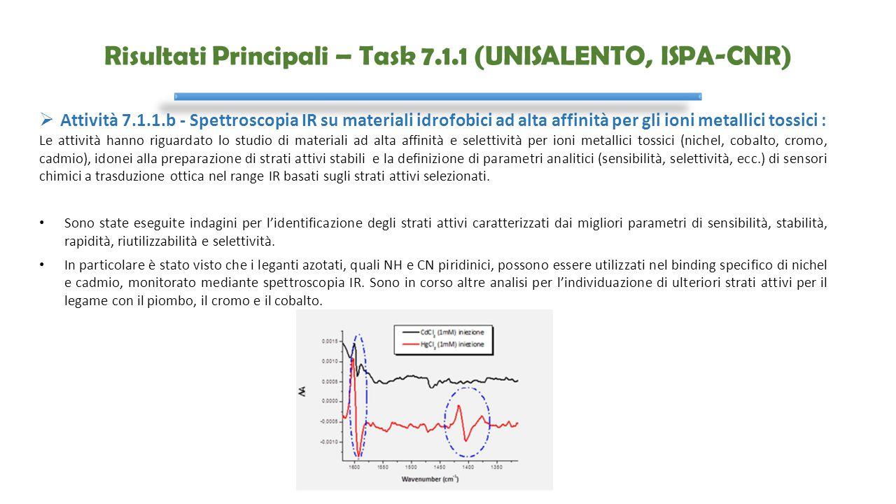 Risultati Principali – Task 7.1.1 (UNISALENTO, ISPA-CNR)