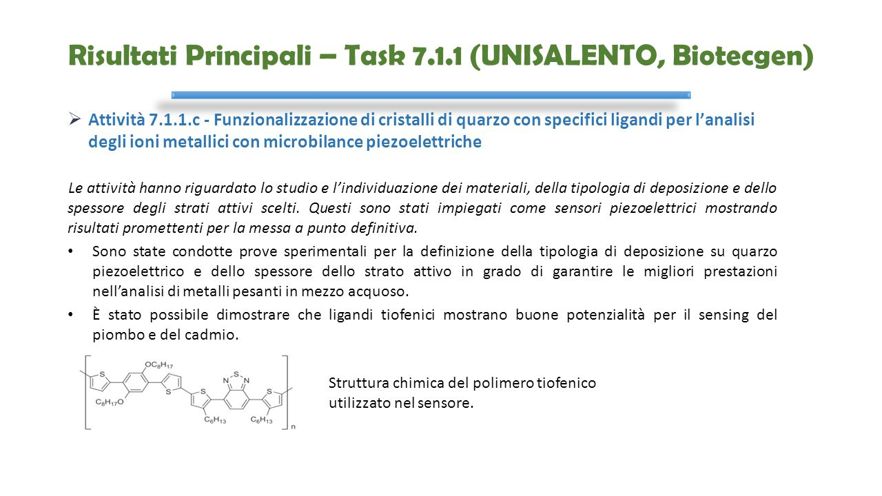 Risultati Principali – Task 7.1.1 (UNISALENTO, Biotecgen)