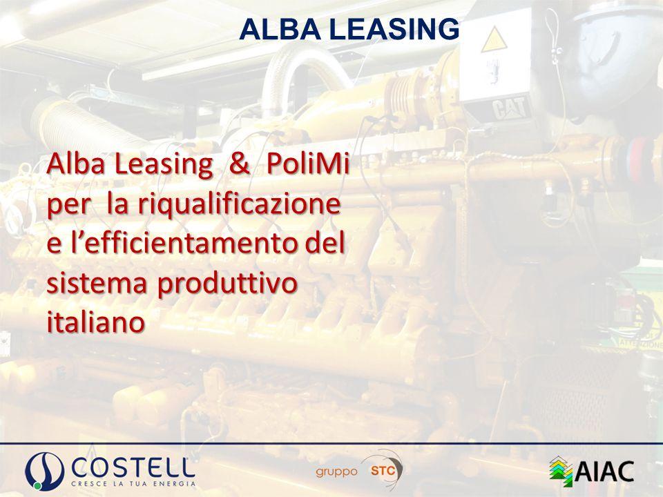 ALBA LEASING Alba Leasing & PoliMi per la riqualificazione e l'efficientamento del sistema produttivo italiano.