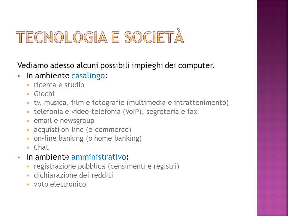Tecnologia e società Vediamo adesso alcuni possibili impieghi dei computer. In ambiente casalingo: