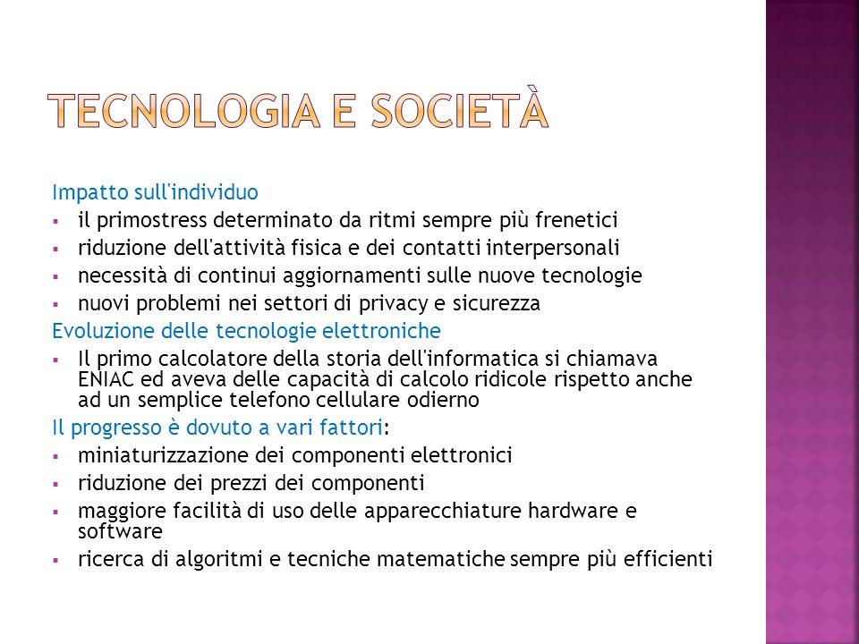 Tecnologia e società Impatto sull individuo
