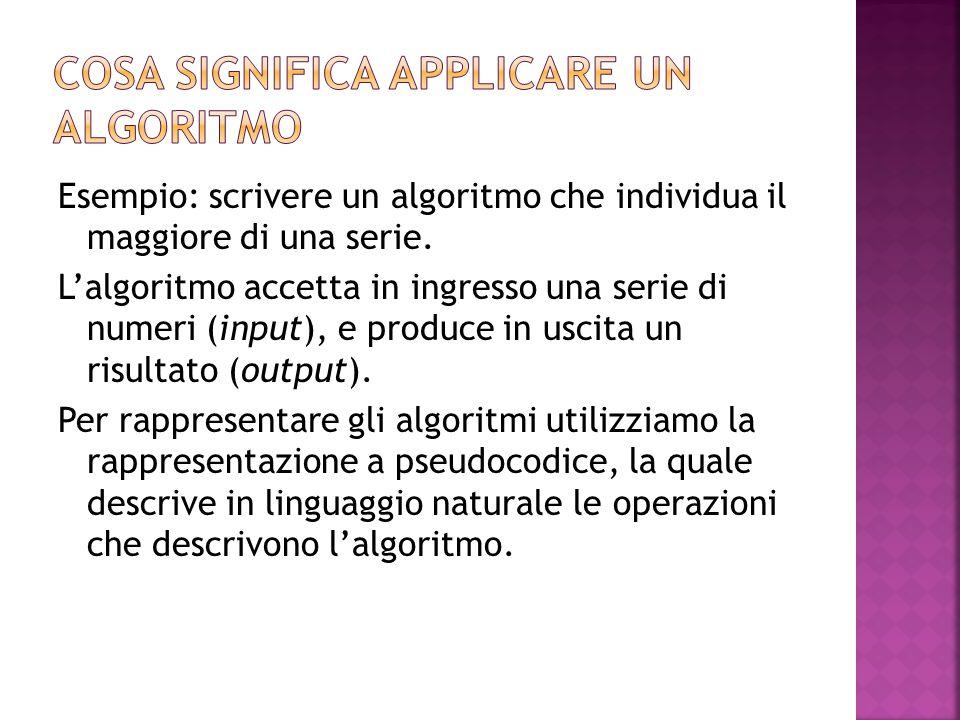 Cosa significa applicare un algoritmo