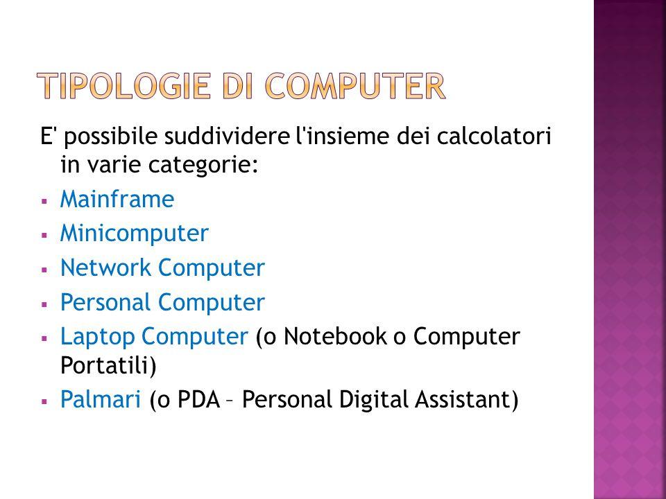 Tipologie di computer E possibile suddividere l insieme dei calcolatori in varie categorie: Mainframe.