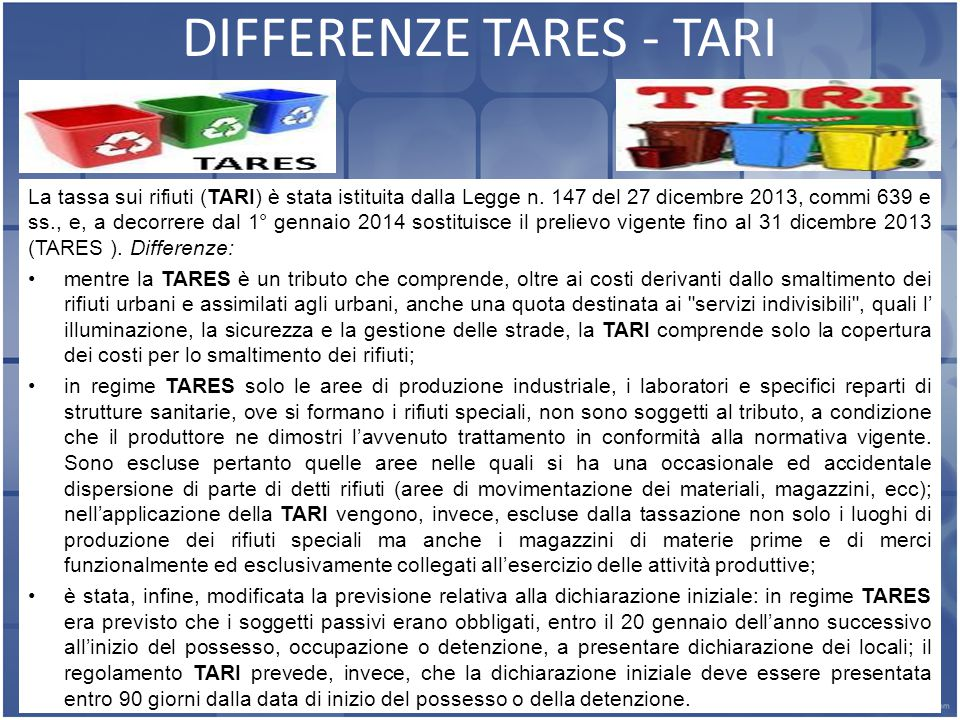 DIFFERENZE TARES - TARI